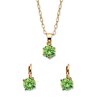 Round Birthstone Earring And Solitaire Pendant Necklace Set