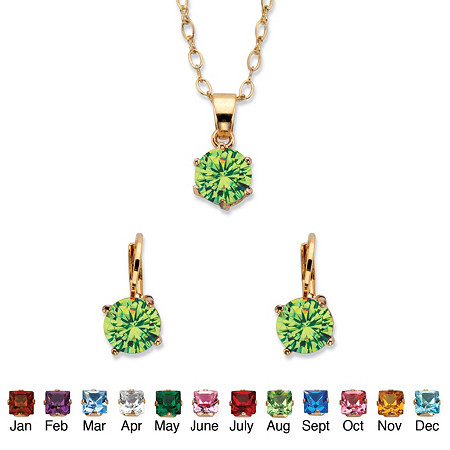 "Round Simulated Birthstone Earring and Solitaire Pendant Necklace Set in Gold Tone 18"" at PalmBeach Jewelry"
