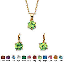 Round Birthstone Earring and Solitaire Pendant Necklace Set in Gold Tone 18