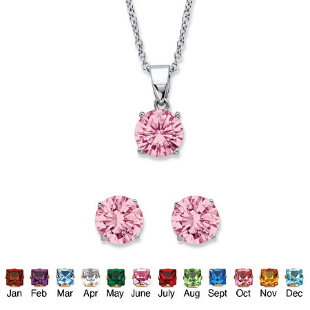 """Round Simulated Birthstone Solitaire Earring and Necklace Set in Platinum over Silver 18""""-20"""" at PalmBeach Jewelry"""