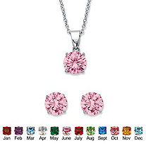 "Round Simulated Birthstone Solitaire Earring and Necklace Set in Platinum over Silver 18""-20"""