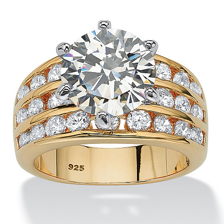 Round Cubic Zirconia Triple-Row Engagement Ring 3.88 TCW in 14k Gold over Sterling Silver at PalmBeach Jewelry