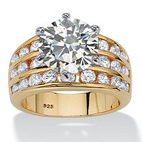 Round Cubic Zirconia Triple-Row Engagement Ring 3.88 TCW in 14k Gold over Sterling Silver