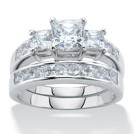 Princess-Cut Cubic Zirconia 2-Piece Wedding Ring Set 3.11 TCW Platinum-Plated at PalmBeach Jewelry