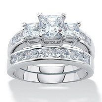3.11 TCW Princess-Cut Cubic Zirconia Platinum-Plated 2-Piece Wedding Ring Set