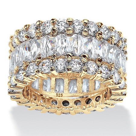12.42 TCW Round and Baguette-Cut Cubic Zirconia 14k Gold over Sterling Silver Eternity Ring at PalmBeach Jewelry