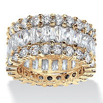 Round and Baguette-Cut Cubic Zirconia Eternity Ring 12.42 TCW in 14k Gold over Sterling Silver