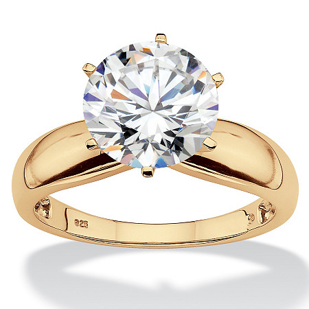Round Cubic Zirconia Silver Solitaire Engagement Ring 3.50 TCW in 18k Gold over Sterling Silver at PalmBeach Jewelry