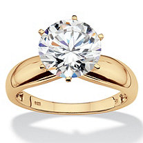 Round Cubic Zirconia Silver Solitaire Engagement Ring 3.50 TCW in 18k Gold over Sterling Silver