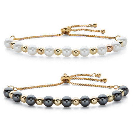 "Round Simulated Pearl Gold Tone Adjustable Bolo Bracelet BONUS! Buy One Bracelet, Get One FREE 11"" at PalmBeach Jewelry"
