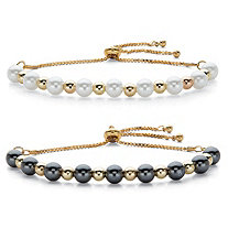Round Simulated Pearl Gold Tone Adjustable Bolo Bracelet BONUS! Buy One Bracelet, Get One FREE 11""