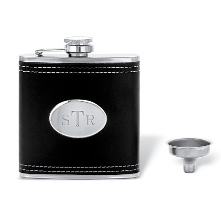 "Personalized Engraved Black Leather Flask in Stainless Steel and Silvertone 4.5"" at PalmBeach Jewelry"