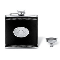 Personalized Engraved Black Leather Flask in Stainless Steel and Silvertone 4.5