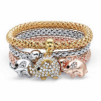 Round Crystal Elephant Charm Tri-Tone 3-Piece Stretch Bracelet Set in Rose Tone Gold Tone and Silvertone 8.5