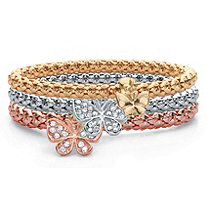 Round Crystal Butterfly Charm Tri-Tone 3-Piece Stretch Bracelet Set in Rose Tone Gold Tone and Silvertone 8""