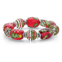 Red and Green Holiday Beaded Silvertone Stretch Bracelet 7""