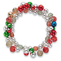 Silver, Red and Green Crystal Silvertone Holiday Jingle Bell Stretch Bracelet 7""
