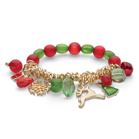 Red and Green Crystal Silvertone Holiday Reindeer Charm Stretch Bracelet 7
