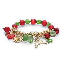 Red and Green Crystal Silvertone Holiday Reindeer Charm Stretch Bracelet 7""