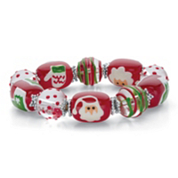 Red And Green Santa Clause Crystal Holiday Beaded Stretch Bracelet ONLY $4.95