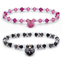 Faceted Crystal Silvertone Beaded Heart Charm Stretch Bracelet Set BONUS! Buy One, Get One FREE! 7""