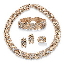 Round Crystal Gold Tone 4-Piece Braided Necklace, Earring, Bracelet Set with Bonus Ring 18