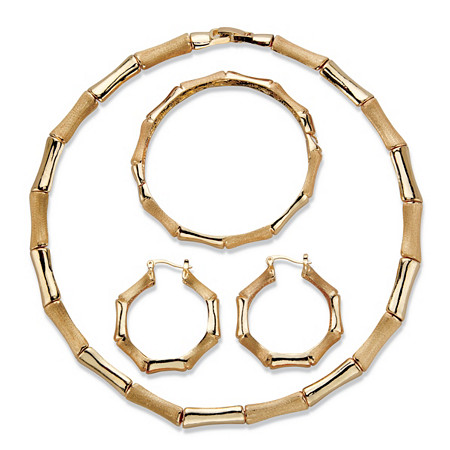 "Polished and Matte 3-Piece Bamboo Necklace, Hoop Earring and Bracelet Set in Gold Tone 18"" at PalmBeach Jewelry"