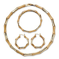 Polished and Matte Gold Tone 3-Piece Bamboo Necklace, Hoop Earring and Bracelet Set 18