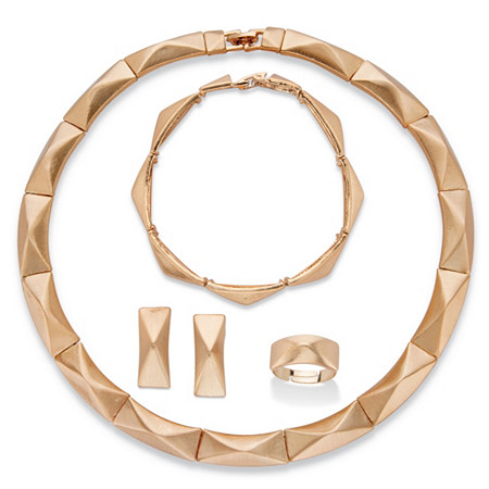 Polished Gold Tone 4-Piece Pyramid Bar-Link Necklace, Drop Earring, Bracelet and Adjustable Ring Set 18