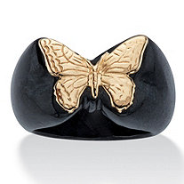 Genuine Black Jade Butterfly Ring in Solid 10k Yellow Gold