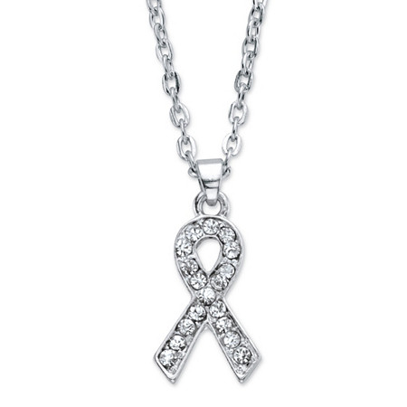"Round Crystal Breast Cancer Awareness Pendant Necklace in Silvertone 20""-22.5"" at PalmBeach Jewelry"