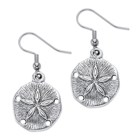 Sand Dollar Drop Earrings in Antiqued Silvertone at PalmBeach Jewelry