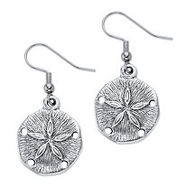 Sand Dollar Drop Earrings in Antiqued Silvertone