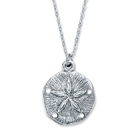 "Sand Dollar Pendant Necklace in Antiqued Silvertone 18"" at PalmBeach Jewelry"