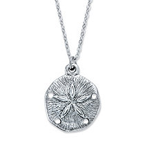 Sand Dollar Pendant Necklace in Antiqued Silvertone 18