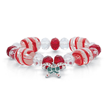 """Red and White Crystal and Enamel Holiday Candy Cane Beaded Charm Stretch Bracelet in Silvertone 7"""" at PalmBeach Jewelry"""
