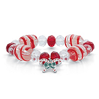 Holiday Candy Cane Beaded Charm Stretch Bracelet ONLY $4.99