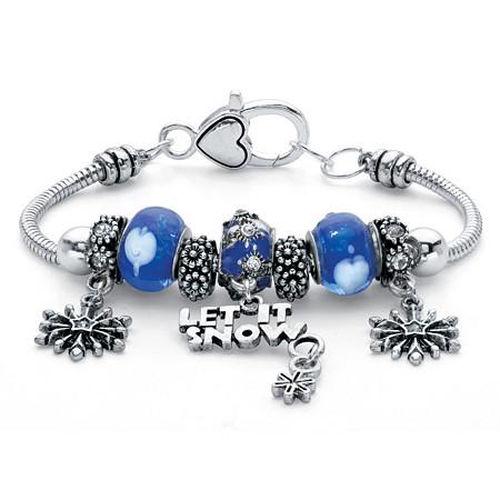 Blue Crystal Let It Snow Bali-Style Beaded Charm Bracelet in Silvertone 7