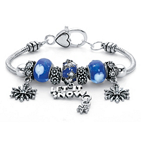 Blue Crystal Let It Snow Bali-Style Beaded Charm Bracelet ONLY $4.95