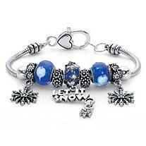 Blue Crystal Let It Snow Bali-Style Beaded Charm Bracelet in Silvertone 7""