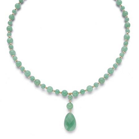 """Genuine Pear-Cut and Round Beaded Green Jade Drop Necklace in 10k Yellow Gold 20"""" at PalmBeach Jewelry"""