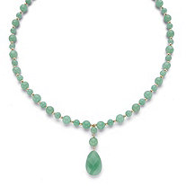 Genuine Pear-Cut and Round Beaded Green Jade Drop Necklace in 10k Yellow Gold 20""