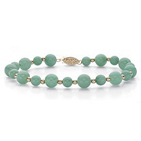 Genuine Green Jade Round Beaded Bracelet in Solid 10k Yellow Gold 8""