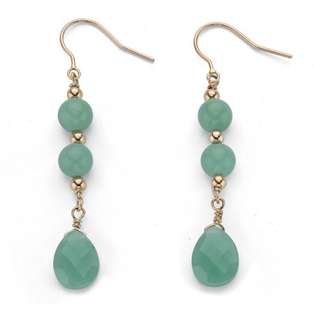 Genuine Green Jade Pear-Cut and Round Beaded Drop Earrings in Solid 10k Yellow Gold at PalmBeach Jewelry