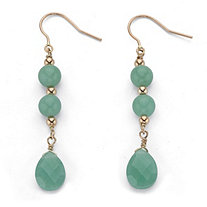 Genuine Green Jade Pear-Cut and Round Beaded Drop Earrings in Solid 10k Yellow Gold