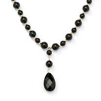 Genuine Black Onyx Pear-Cut and Round Beaded Drop Necklace in Solid 10k Yellow Gold 20