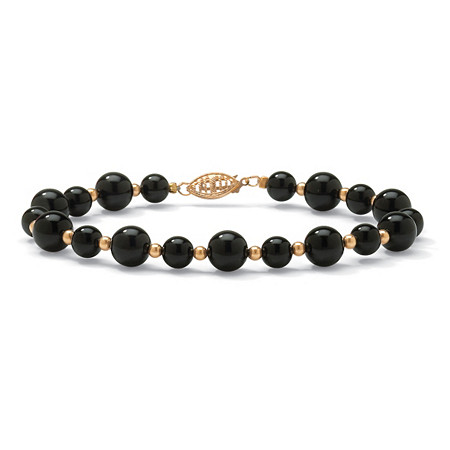 "Genuine Black Onyx Round Beaded Bracelet in 10k Yellow Gold 8"" at PalmBeach Jewelry"