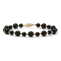 Genuine Black Onyx Round Beaded Bracelet in 10k Yellow Gold 8""