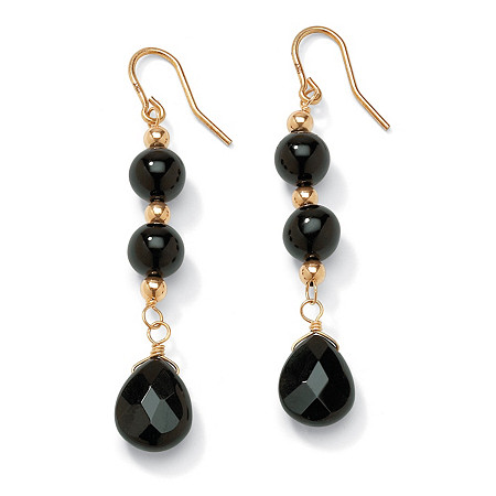 Genuine Black Onyx Round and Briolette Beaded Drop Earrings in Solid 10k Yellow Gold at PalmBeach Jewelry