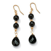 Genuine Black Onyx Round and Briolette Beaded Drop Earrings in Solid 10k Yellow Gold